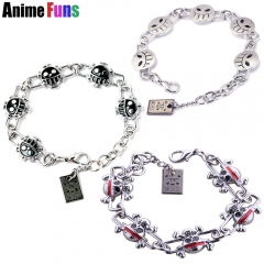 3 types Anime One Piece Ace Smile Trafalgar D Skull Skeleton Pirate King Luffy Anchor Logo Bracelet