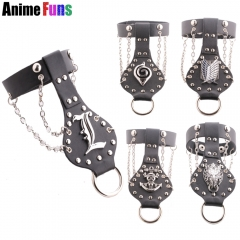 5 types Anime One Piece Luffy Naruto Attack on Titan Bleach Game Final Fantasy Logo Leather Punk Charm Bracelet