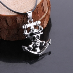 Anime One Piece Skull Pirate King Luffy Anchor Logo Necklace
