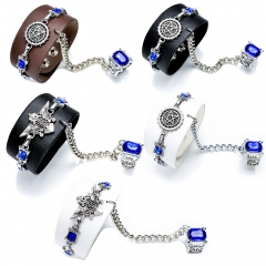 5 Types Anime Black Butler Kuroshitsuji Punk Leather Bracelet Ring Set Sebastian Ciel Charm Bangle
