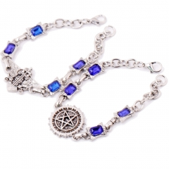 Hot sale Anime Black Butler Ciel Sebastian Eagle Logo Bracelet Blue Stone Charm Bangle