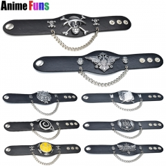 8 type Anime Game Star Bracelet One piece Naruto Black Butler Attack on Titan Final fantasy EXO League of Legends Leather Bangle