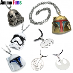 11 types Movie Star Wars Galactic Empire Galactic Republic Rebel Alliance Logo Pendant Stormtrooper Darth Vader White Knight Helmet Choker Necklace