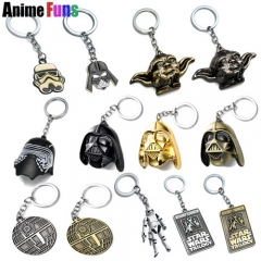 16 types Movie Star Wars Trilogy Letters Logo Keyring The Force Awakens Jedi Master Yoda Darth Vader White Soldier R2D2 Keychain