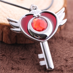 Anime Pretty Soldier Sailor Moon Heart Magic Wand Charm Choker Necklace DM1300