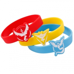 3 Types Pokemon Go Silicone Wristbands Team Instinct Mystic Valor Bracelet Bangle
