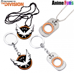 Hot Game Tom Clancy's The Division Logo Choker Necklace SHD Letter Dog Tag Keyring