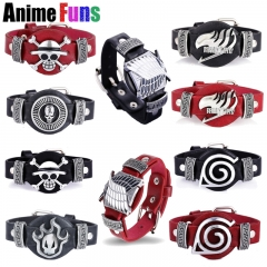 16 Types Anime Bracelet Attack on Titan Attack on Titan Fairy Tail Bleach Naruto Game CF LOL League of Legends PU Leather Bangle