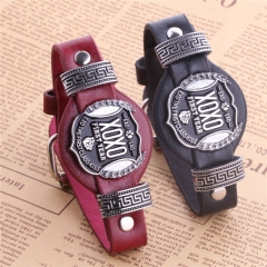 K-POP Combination EXO PU Leather Logo Bracelet XOXO Fashion Star Punk Bangle