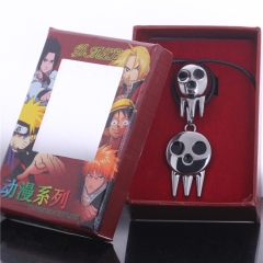 Anime Soul Eater Death Kid Skull Ghost Logo Choker Necklace Ring Set