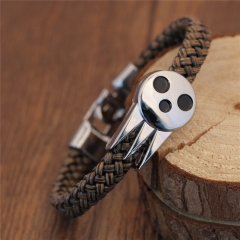 Anime Soul Eater Death Kid Skull Ghost Logo Bracelets & Bangle Leather Weave Jewelry
