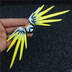 22cm Game Overwatch OW Mercy Wing Weapon Model Keyring Key Chain souvenir Charm Cosplay Jewelry Birthday Gift with display stand