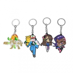 Hot Game Overwatch PVC Key Chain New Heros Sombra Orisa DVA Keyring Pokemon GO Pikachu Silicone Key Holder