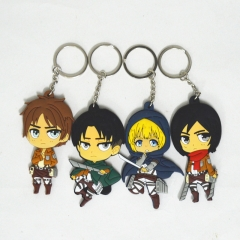 4pcs/set Anime Attack on Titan Model Silicone Keyring Levi Ackerman Eren Jaeger Armin Arlart Mikasa Ackerman Key Chain drop-shipping