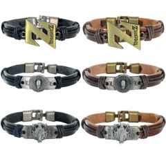Anime Dragon ball Z Death Note Skull Leather Bracelet Final Fantasy Lion Head Logo Punk Wristband Bangle Charm Jewelry