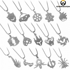 15 types Hot Game Overwatch Hero Logo Choker Necklace Genji Lucio Tracer Hanzo Widowmaker Symmetra Zenyatta Reaper Mercy Pendant