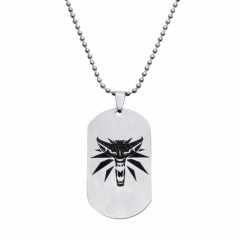 Game The Witcher 3 Wild Hunt Medallion Logo Choker Necklace Pendant For Women Man Unisex Wolf Stainless Steel Necklace