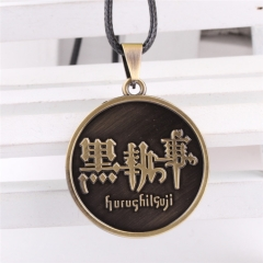 Anime Black Butler Statement Necklace Pentagram pendant Contract Kuroshitsuji Ciel Sebastian Charm Cosplay Jewelry
