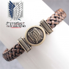 Anime Attack On Titan Woven Bracelet Shingeki No Kyojin Wings of Liberty Logo Charm Bangle