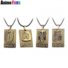 Anime Attack On Titan Logo Necklace Stationed Corps Military-police regiment Survey Corps Training Corps Charm Cosplay Jewelry