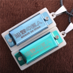 Anime Attack on Titan Logo Choker Necklace Mini Harmonica Pendant Charm Cosplay Jewelry Toy Collection Gift