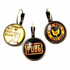 Game Playerunknown's Battlegrounds Logo Earring Letter Glass Vintage Pendant Charm Cosplay Jewelry