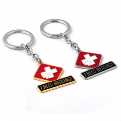 Game Overwatch Key Chain I NEED HEALING Letter Keyring Mercy Pendant