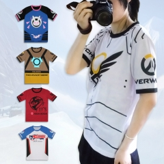 5 Types Game Overwatch Logo T-shirt Hero DVA Mccree Tracer Mercy Soldier 76 Cosplay Costumes T-shirt drop shipping