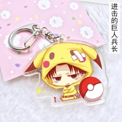 6 type Anime Cartoon Keychain Attack on Titan Eren Levi Pikachu Cute Acrylic Keyring Charm Cosplay Anime Exhibition Jewelry gifts