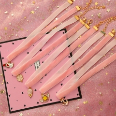 Anime Card Captor Sakura Logo Choker Necklace Pink Ribbon Metal Enamel Star Wand Pendant Charm Gift For Kids Girls