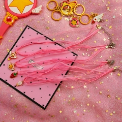 Anime Card Captor Sakura Star Wand Choker Necklace Strawberry Moon Shell Pink Ribbon Pendant