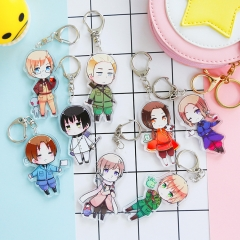 8 type Anime Axis Powers Keyring Italian Russian US UK Cosplay Bag Phone Limited Kawaii Cute Character Figure Acrylic Keychain