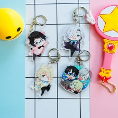 4 types Anime YURI!!! on ICE Acrylic keychain Yuri Victor Cute Character Figure Keyring Cosplay Gift