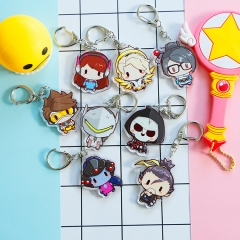 12 type Game Overwatch Keyring Cute DVA Mei Genji Tracer McCree Reaper Widowmaker Character Acrylic Keychain Charm Souvenir Gift