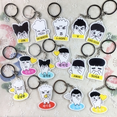 22 Types Kpop Star BTS Character Acrylic Key Chain Jungkook Jimin Jin Rap-Monster V Cute Key Holder Acrylic Keyring