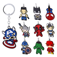 10 types Movie Superhero Captain America Deadpool Cartoon Figure Keyring Gift Souvenirs