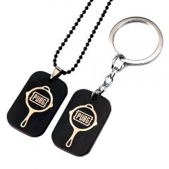 Game Playerunknown's Battlegrounds Choker Necklace PUBG Keyring Black Color Pendant Keychain
