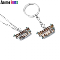 Game Stardew Valley Letter Logo Choker Necklace Metal Pendant Keychain