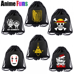 15 types Anime One Piece Tokyo Ghoul Attack on Titan Unisex Canvas School Drawstring Book Bag Shoe Backpack Shopping Bags