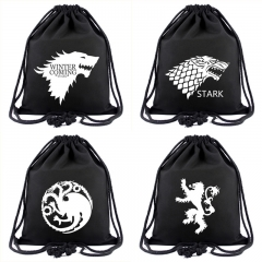 4 types Movie Game of Thrones Unisex Canvas School Drawstring Book Bag House Stark of Winterfell Shoe Backpack Shopping Bags