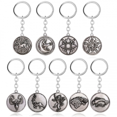 Movie Game of Thrones A Song of Ice and Fire Keyring Stark Lannister Targaryen Martell Baratheon Tully Greyjoy Arryn Tyrell Gift