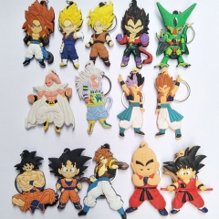Anime DRAGON BALL Z Silicone Keychain Super Saiyan Son Goku Limited Charm Character Cosplay Bag Keyring Birthday Gift Series 1