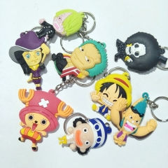 17 types Anime One Piece Silicone Keychain Hatsune Miku Sailor Moon Tsukino Usagi Keyring