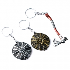 Game God of War Kratos Logo Keychain Axe The guardian's shield Keyring