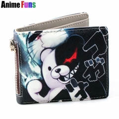 Anime Danganronpa Short PU Purse Monokuma Wallet with Zipper Coin Purse Card Holders Souvenir