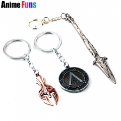 Game Assassin's Odysse Keychain AC Spear of Leonidas Keyring Mask Choker Necklace Jewelry Souvenir