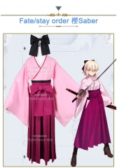 Anime Fate/Grand Order Okita Souji FGO Cosplay Costume Uniform Pink kimono Suit