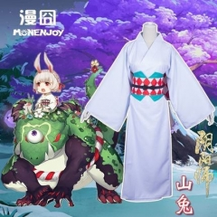 Game Onmyoji R Rabbit Cosplay Costume Full Set With Bathrobe Waist Closure Rabbit Ears Clothes Kimono For Cosplay Fans Gift