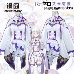 Anime Re:Life in a different world from zero Emilia Cosplay Costume Dresses Suit