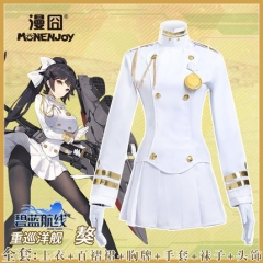 Azur Lane Takao Cosplay Costume White Uniform Cloth PU leather Suits Pleated Skirt Clothes
